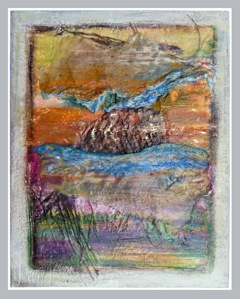 """Another Day #4"" Encaustic, paper and coconut fibre by Jay West"