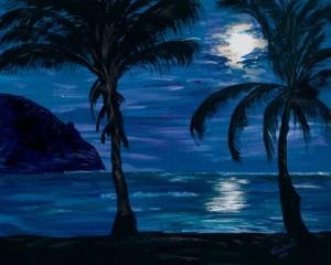 """Hanalei Moon""  Acrylic painting by Merna Joan Watta"