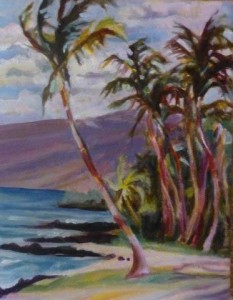"""Shore Palms""  Oil painting by Lynn Chapman"