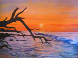 """Waimea Sunset""  Oil painting by Lynn Chapman"