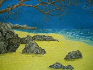 """""""On the Rocks"""", Acrylic on Paper by Jaclyn MacKinnon"""