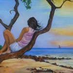 """Watching Sunset""  oil on canvas by Lynn Chapman"