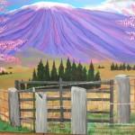 """Mauna Kea and Cherry Blossoms"" oil by Ian Haight"