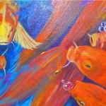 """""""Gentle Koi"""" acrylic by Linda Simrose"""