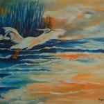 """Moonlit Cranes"", oil by Pat Dinsman"