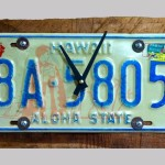 """Hard Drive""  Hawaii license tag on scrap koa by Dennis Cigainero"
