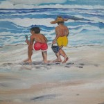 """Footprints in the Sand""  Oil by Pat Dinsman"