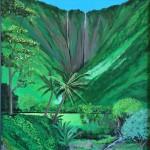 """""""Hi'ilawe Falls - Waipio""""  acrylic by Ian Haight"""