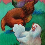 """Chickens"" acrylic by Judy Hancock"