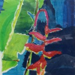 """""""Hanging Heliconia Collage""""  painted paper collage by Mary Spears"""