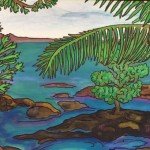 """Hilo Bay""  mixed media by Linda Hostalek"