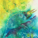 """Chameleon"" watercolor by Julie McCue"