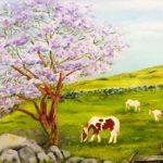 """Jacaranda and Ponies"" oil by Norma Watt"